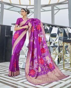 Silk Saree in Violet