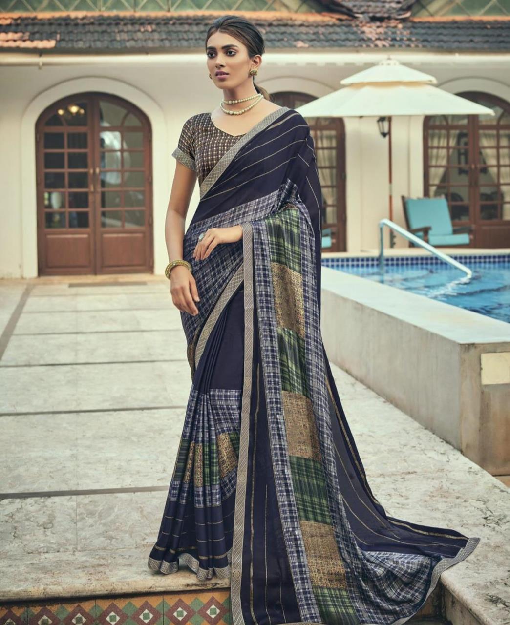 Printed Chiffon Saree in Navy Blue