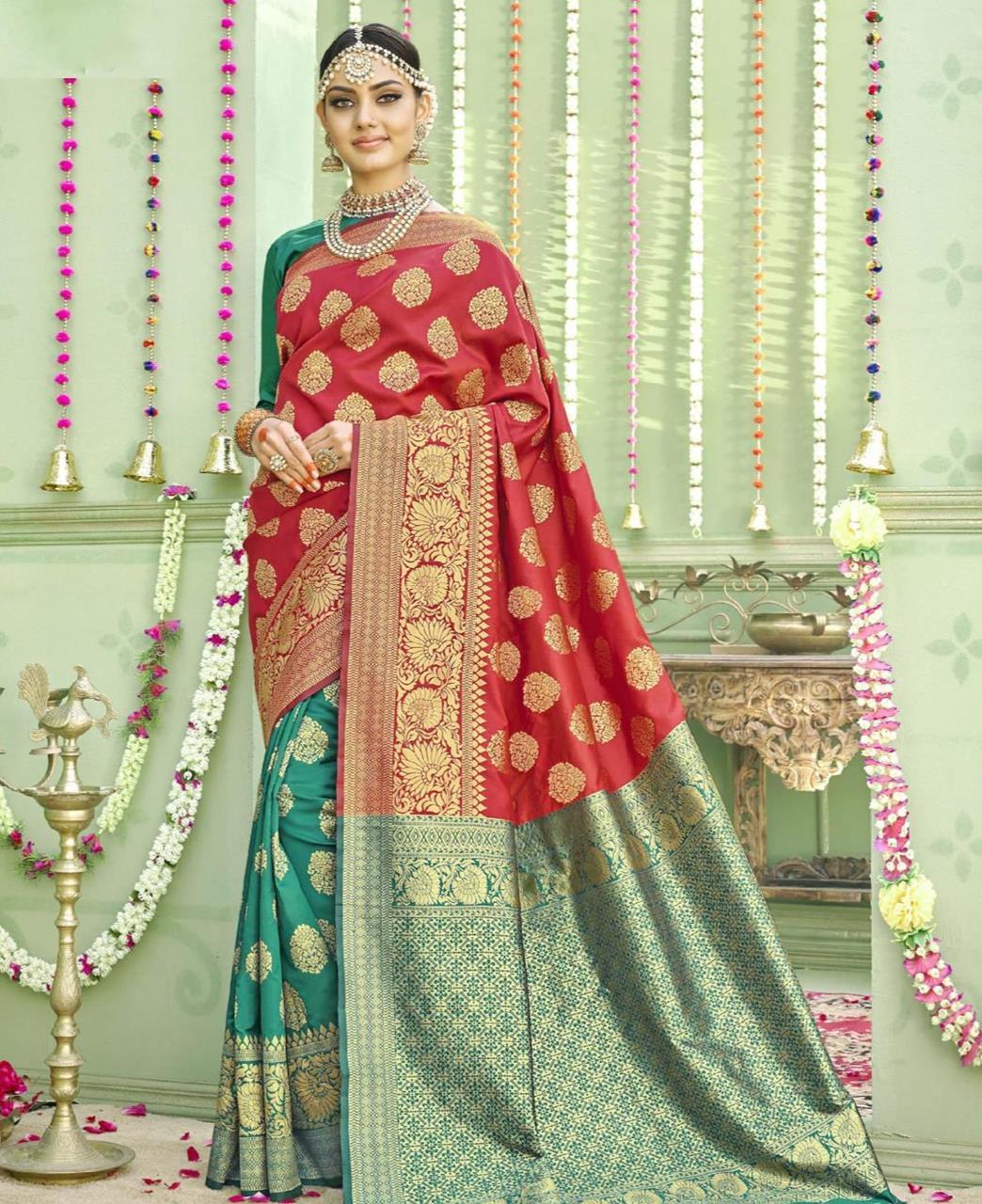 Woven Silk Saree (Sari) in Red