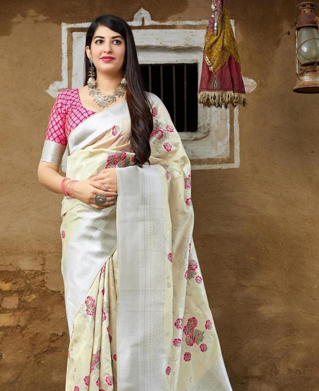 Woven Banarasi Silk Saree (Sari) in White