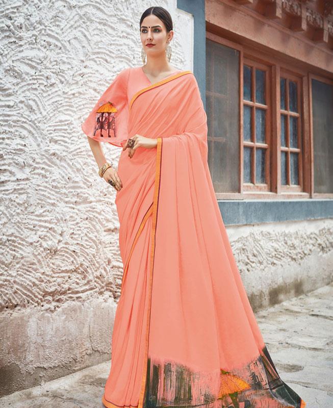 Printed Chiffon Saree in PeachPuff