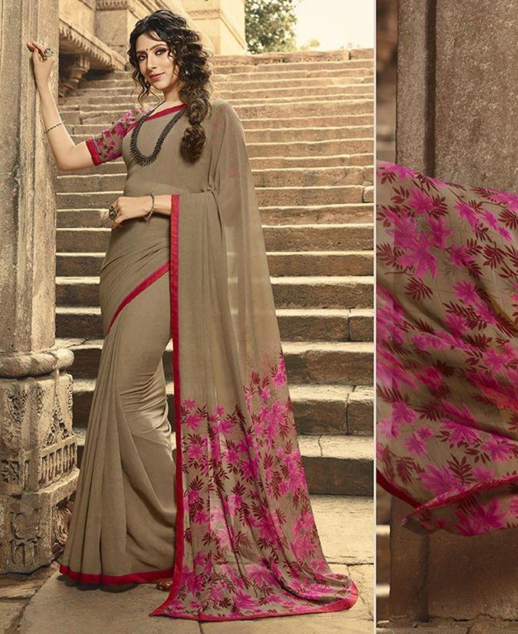 Printed Georgette Saree in Pale Brown