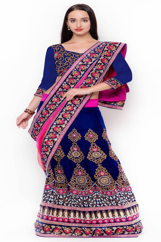 Embellishments Net Saree (Sari) in Blue