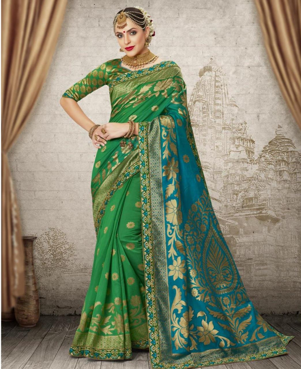 Jacquard Silk Saree (Sari) in Green