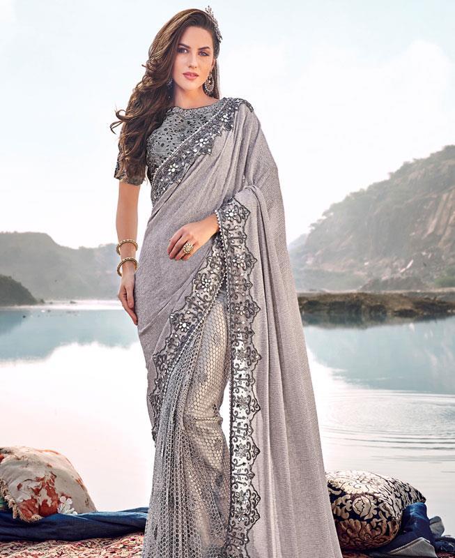 Plain Net Saree in Gray