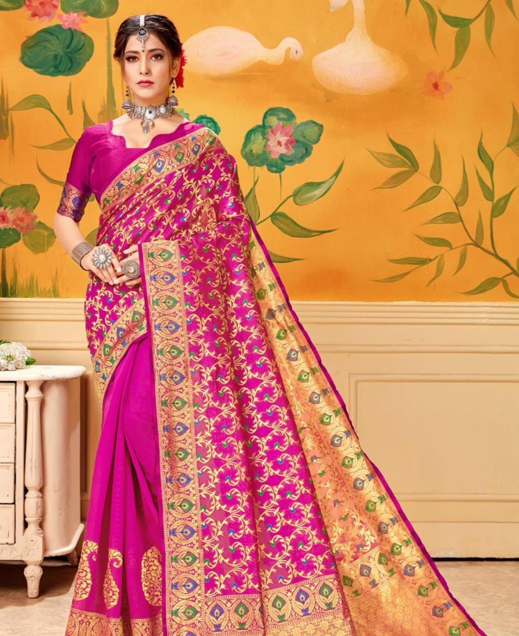 Woven Jacquard Saree in Pink