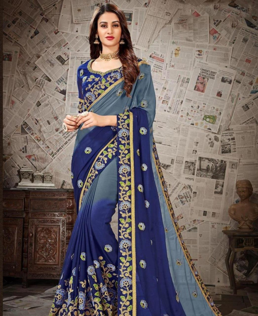 Embroidered Chiffon Saree (Sari) in Gray