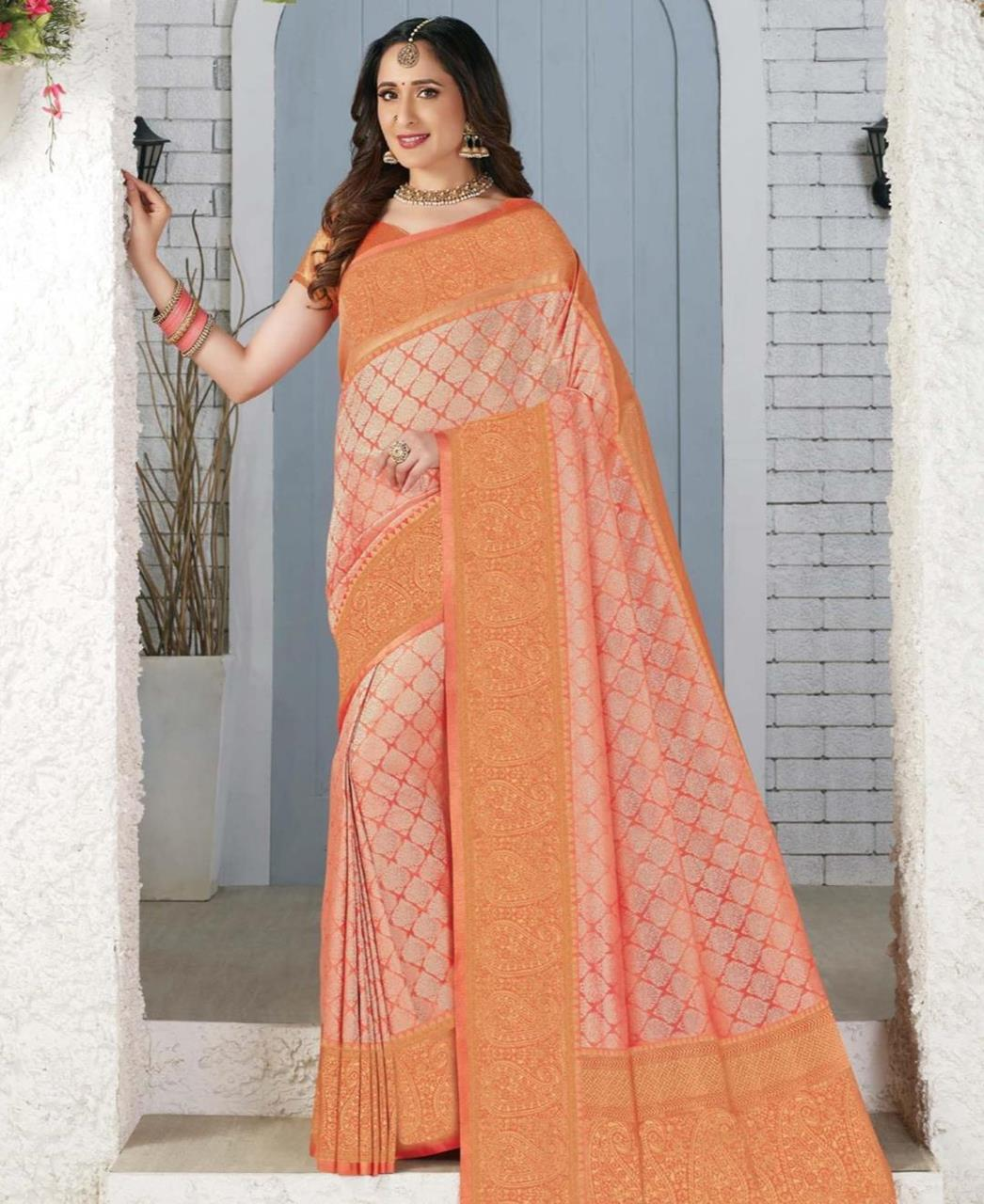 Silk Saree in Peach