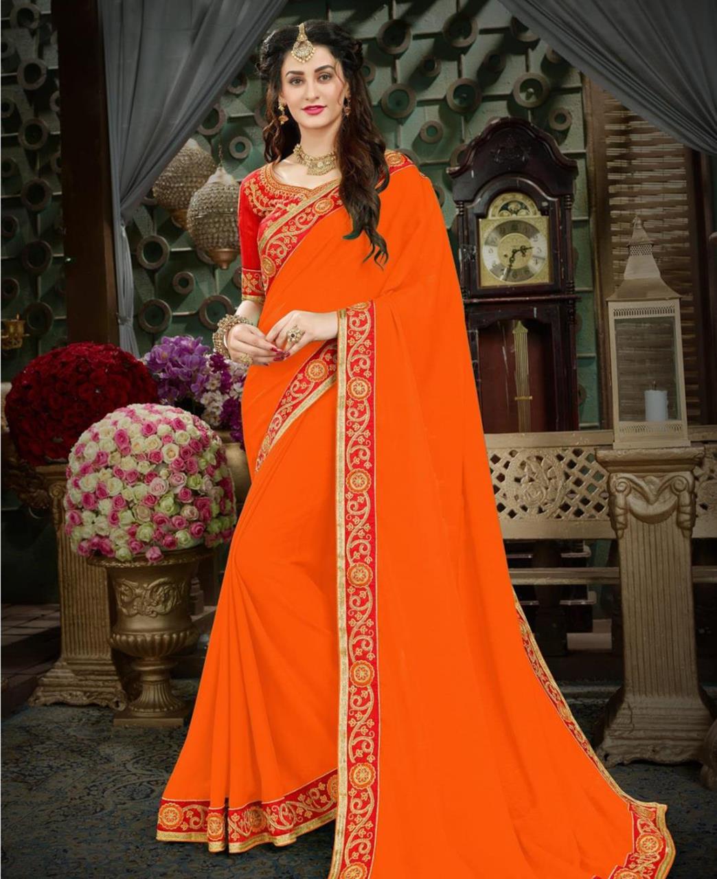 Embroidered Georgette Saree (Sari) in Orange