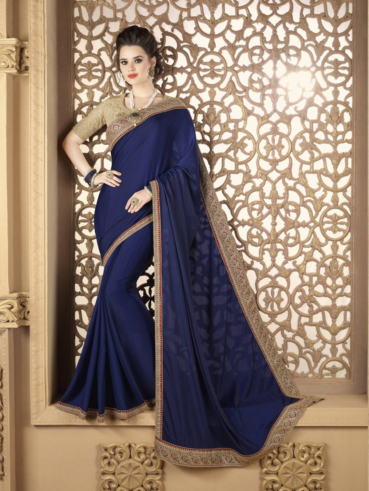 Embroidered Silk Saree (Sari) in Navyblue