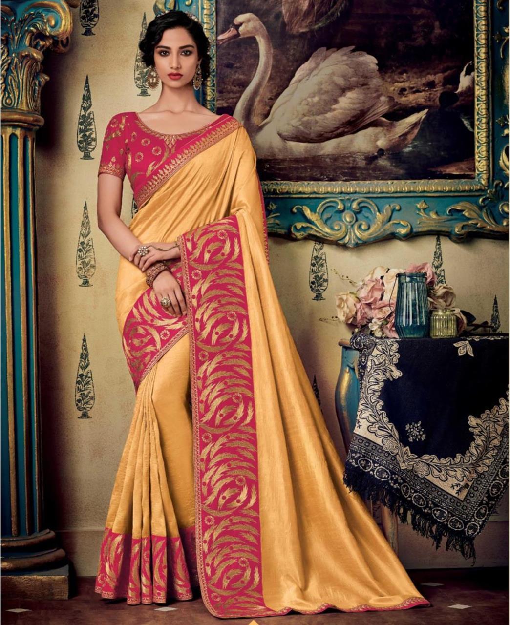 Plain Art Silk Saree in Yellow