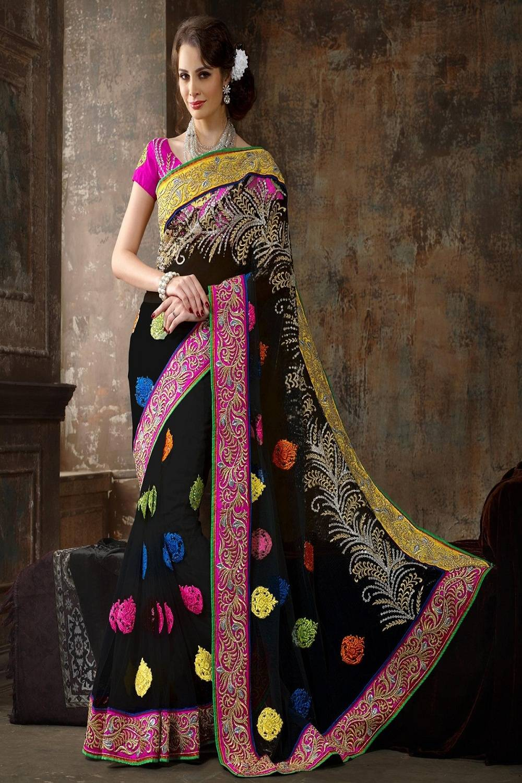 Embroidered Net Saree (Sari) in Black