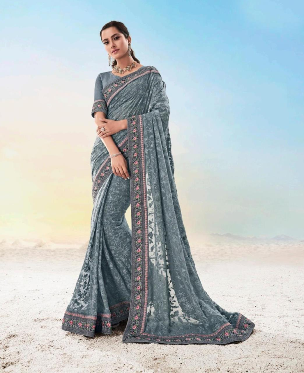 Georgette Saree in Grey