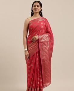 HandWorked Cotton Saree in Red