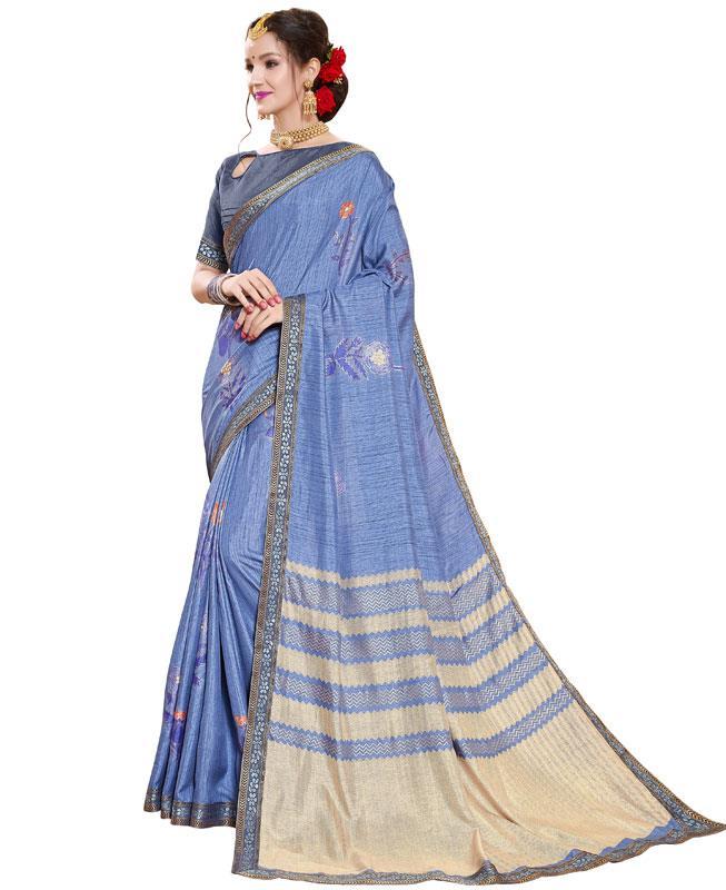 Printed Silk Saree in Blue
