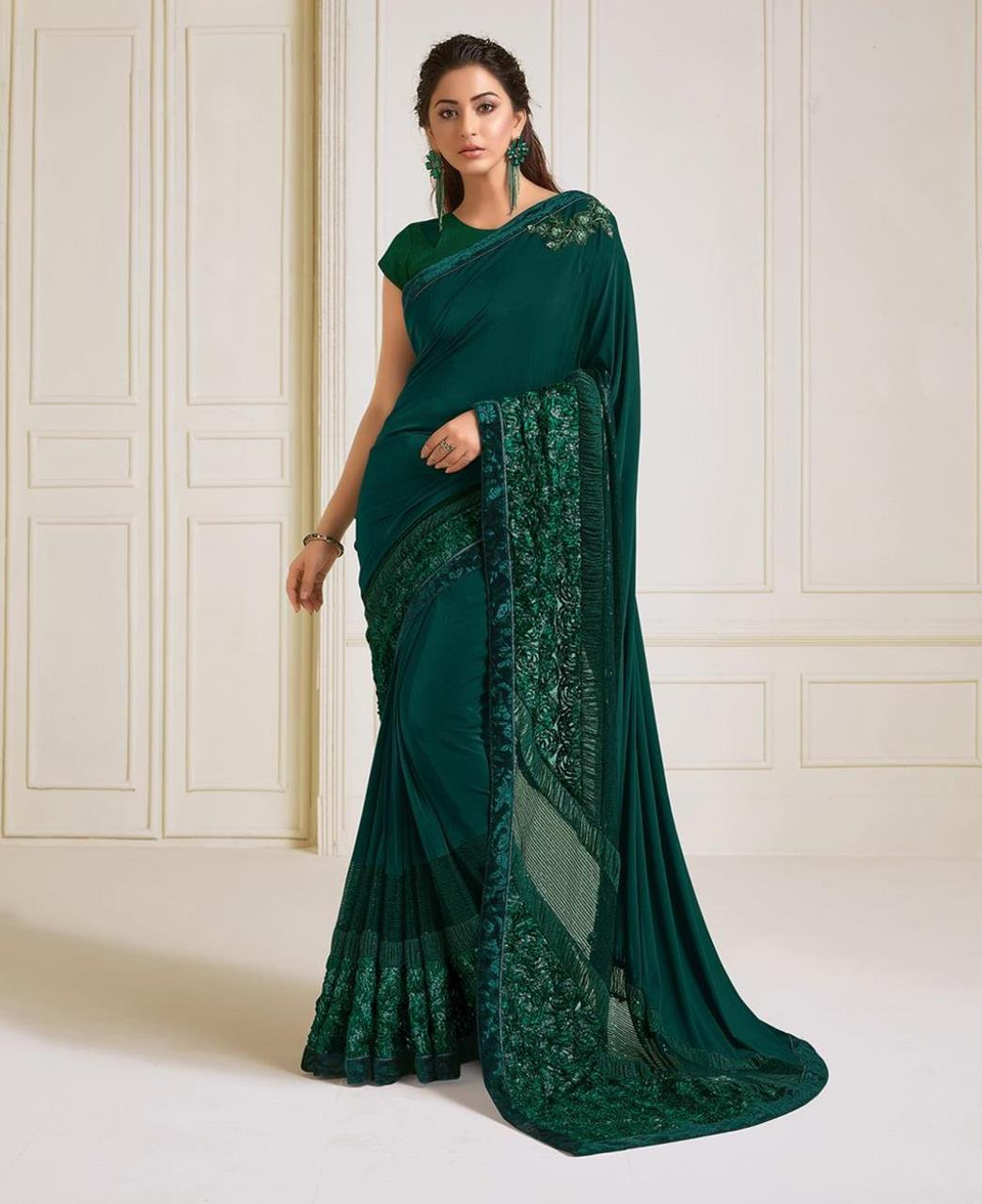 HandWorked Lycra Saree in Green