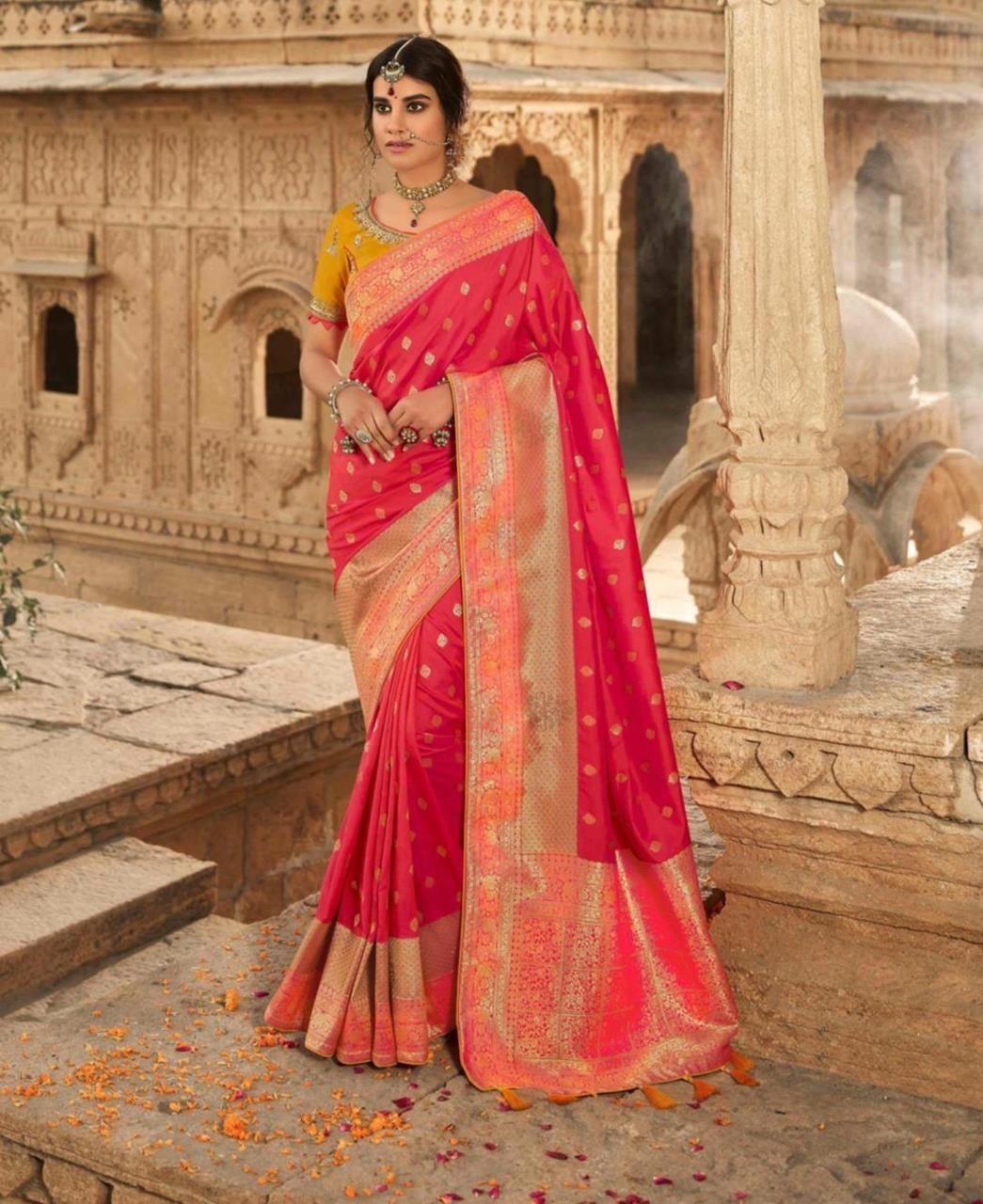 Stone Work Silk Saree in Redish Pink