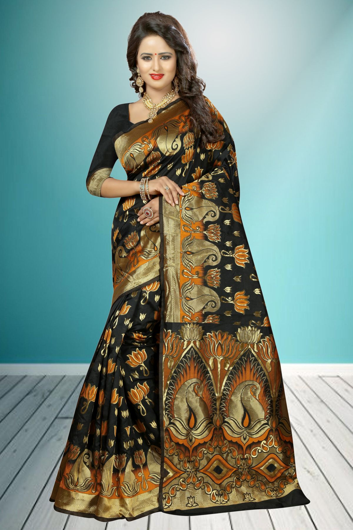 Jacquard Art Silk Saree in Black