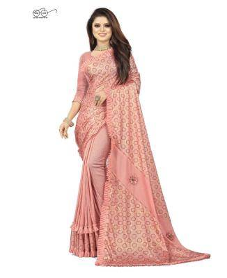 Embroidered Lycra Saree in PeachPuff