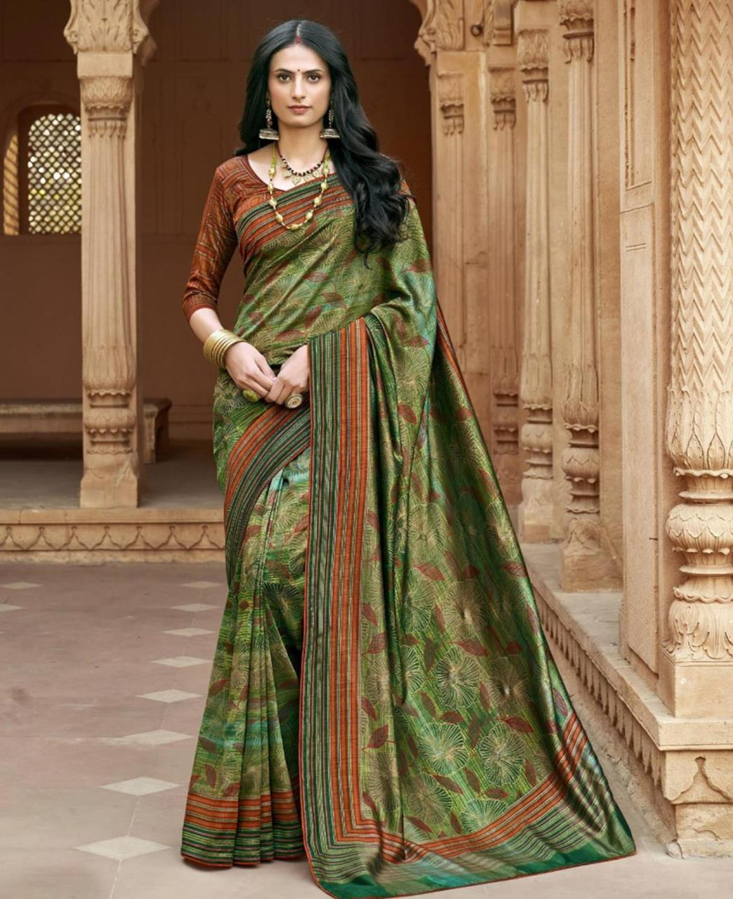 HandWorked Silk Saree in Green
