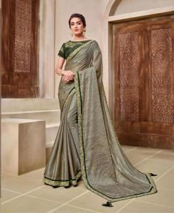 Lace Georgette Saree in Olive Green