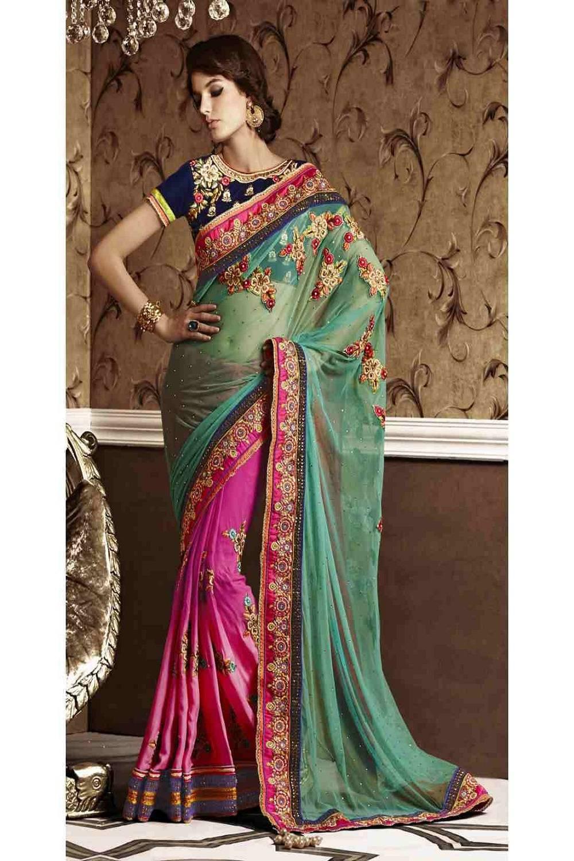 Embroidered Net Saree (Sari) in Magenta