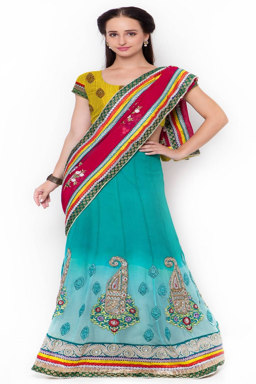 Embellishments Faux Georgette Saree (Sari) in Blue
