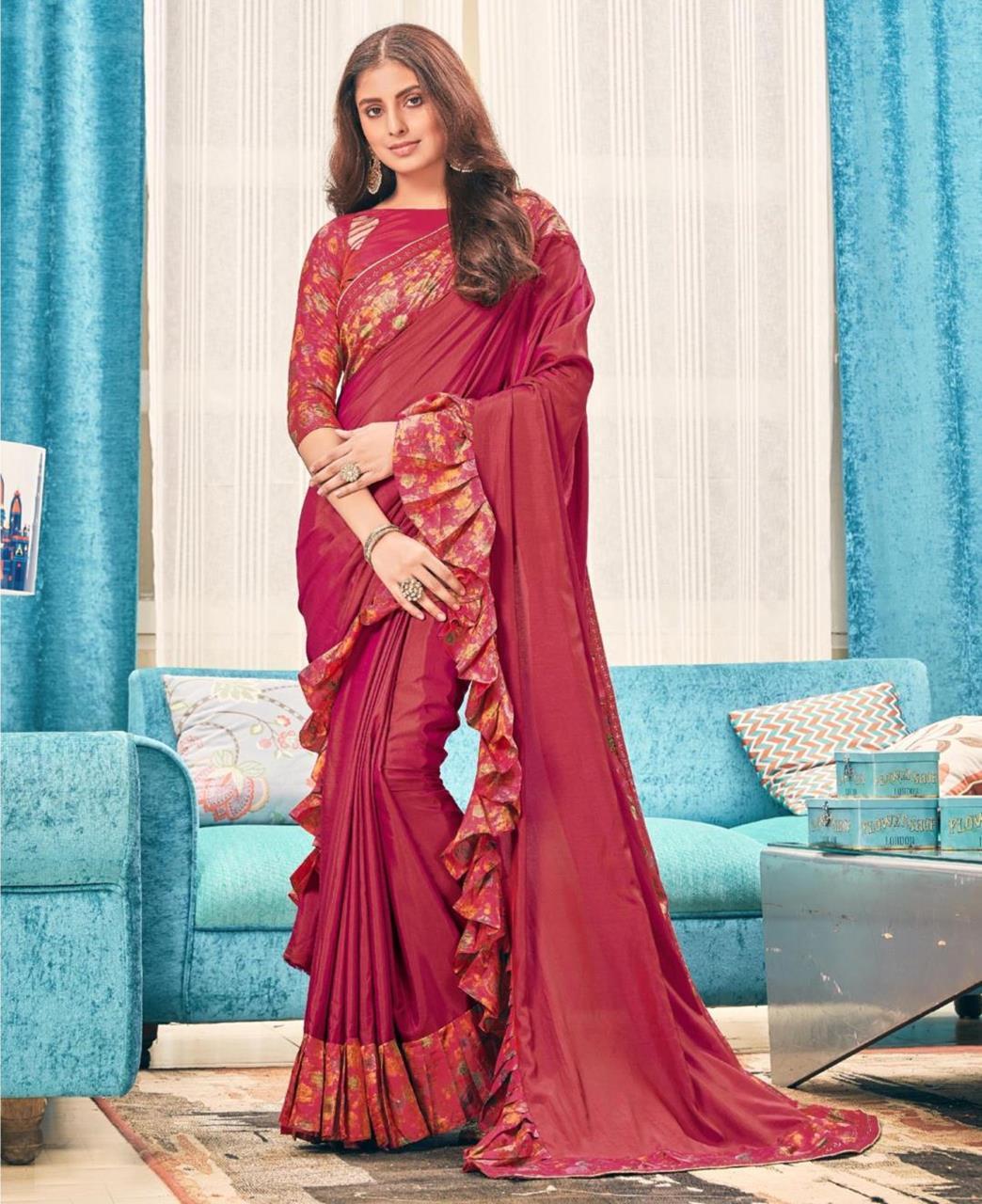 Printed Silk Saree (Sari) in Maroon