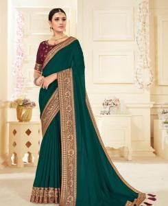 Lace Georgette Saree in Bottle Green