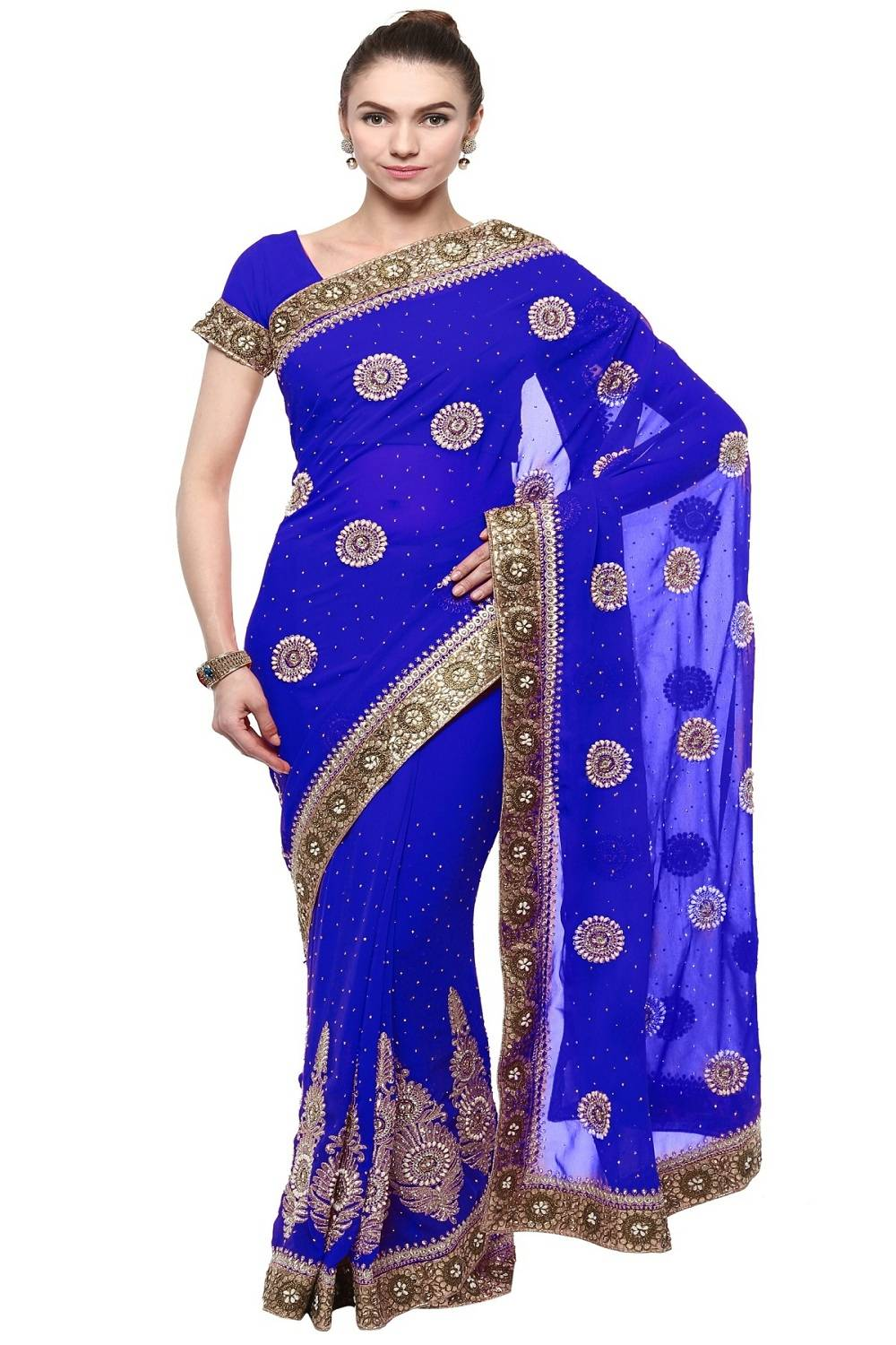 Stone Work Faux Georgette Saree (Sari) in Blue