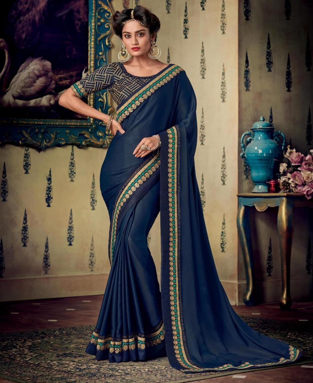 Plain Art Silk Saree in Navyblue