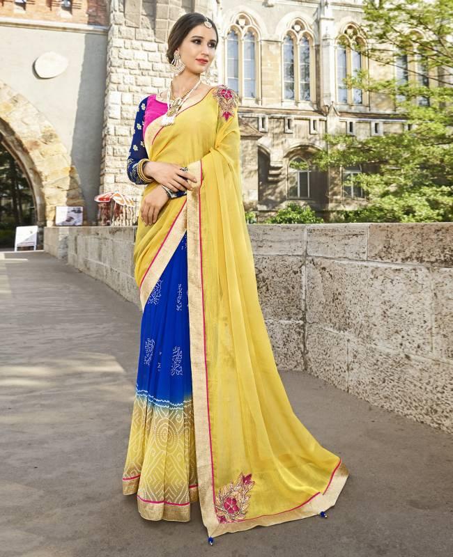 Bandhej Printed Faux Georgette Saree (Sari) in Blue