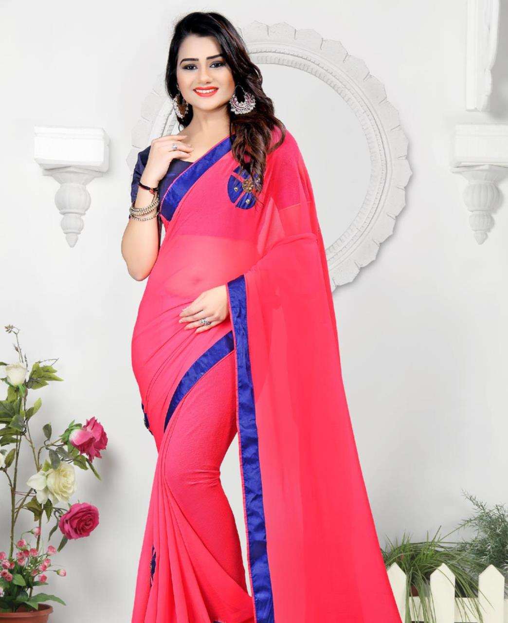 Lace Chiffon Saree (Sari) in Red