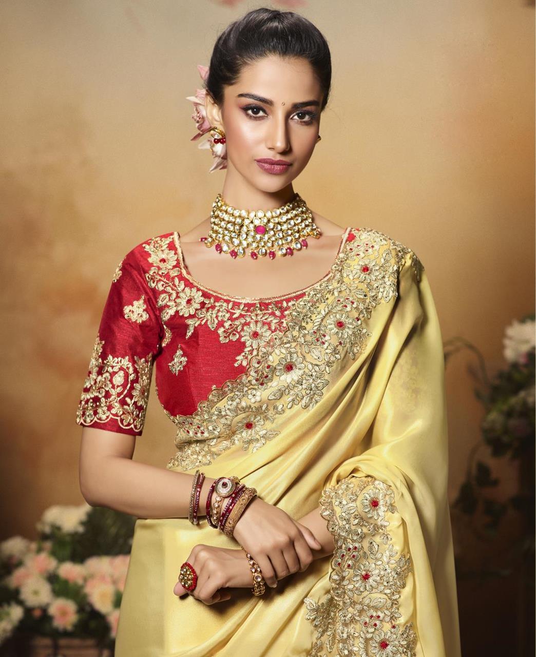 Satin Saree in Light Cream