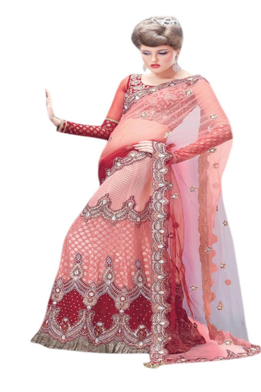 Embroidered Chiffon Saree (Sari) in Red