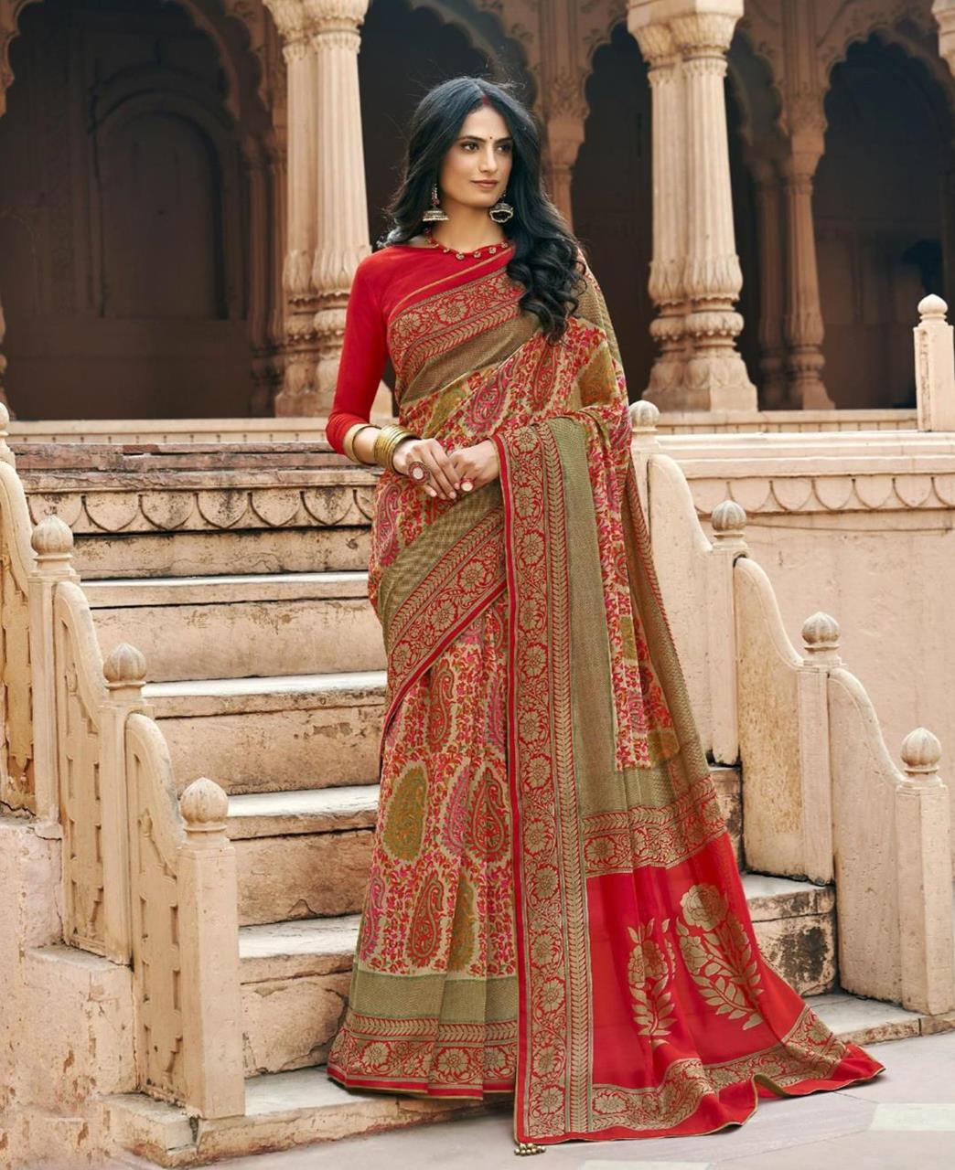 HandWorked Silk Saree in Orange