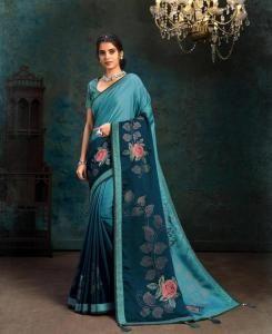 HandWorked Georgette Saree in Blue