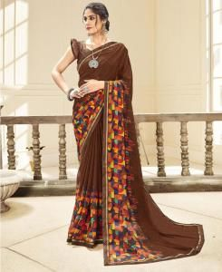 Lace Georgette Saree in Brown
