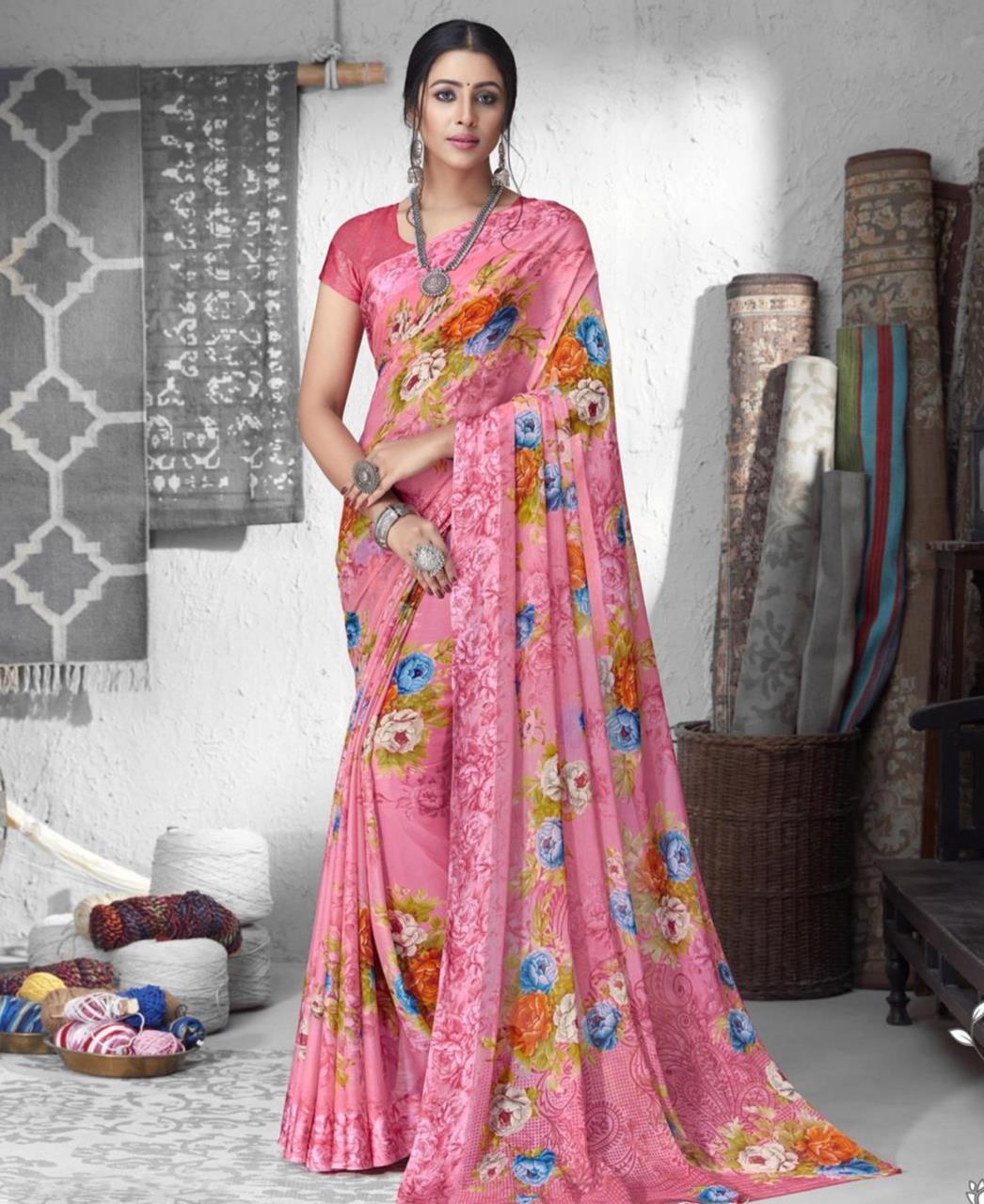 Printed Chiffon Saree in Pink