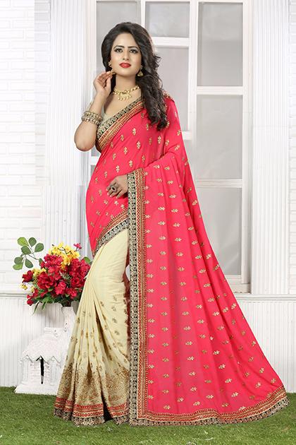 Embroidered Chiffon Saree (sari) in Pink