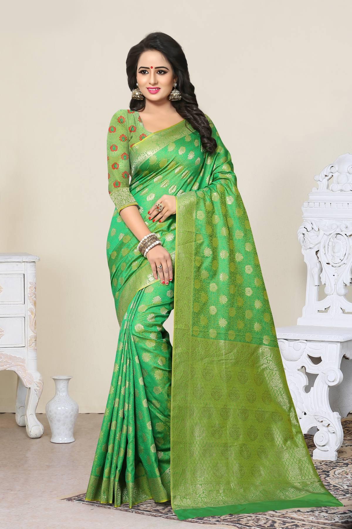 Woven Art Silk Saree (Sari) in Green