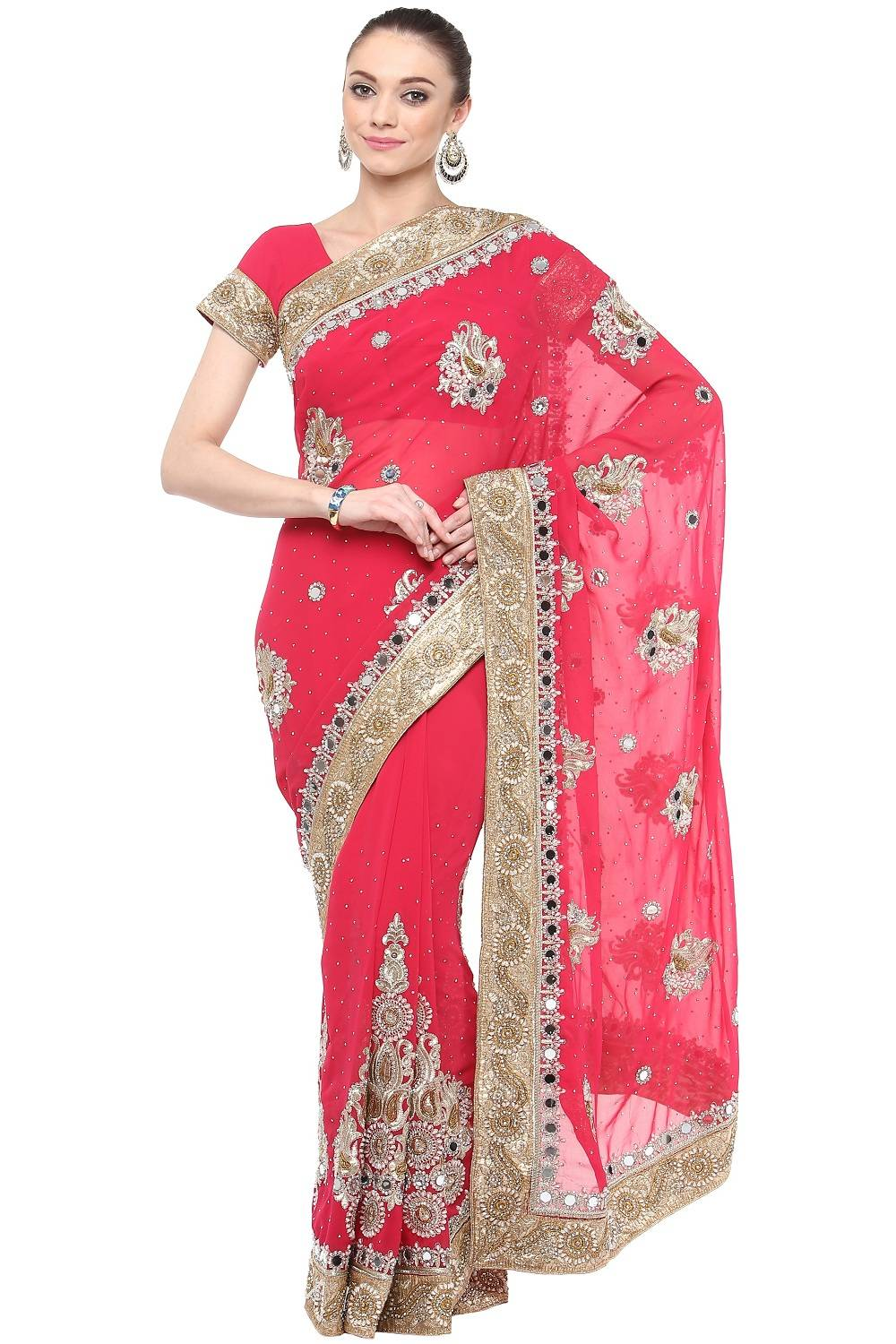 Stone Work Faux Georgette Saree (Sari) in Magenta