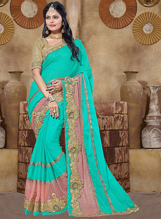 Embroidered Chiffon Saree (sari) in SEAGREEN