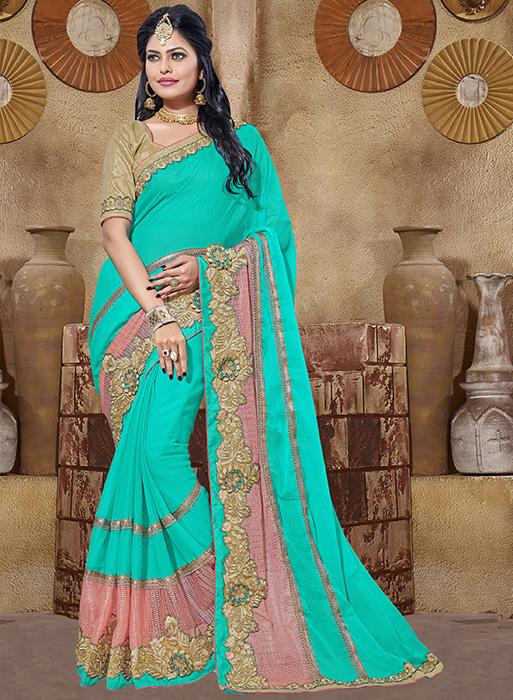 Embroidered Chiffon Saree (sari) in SEAGREEN