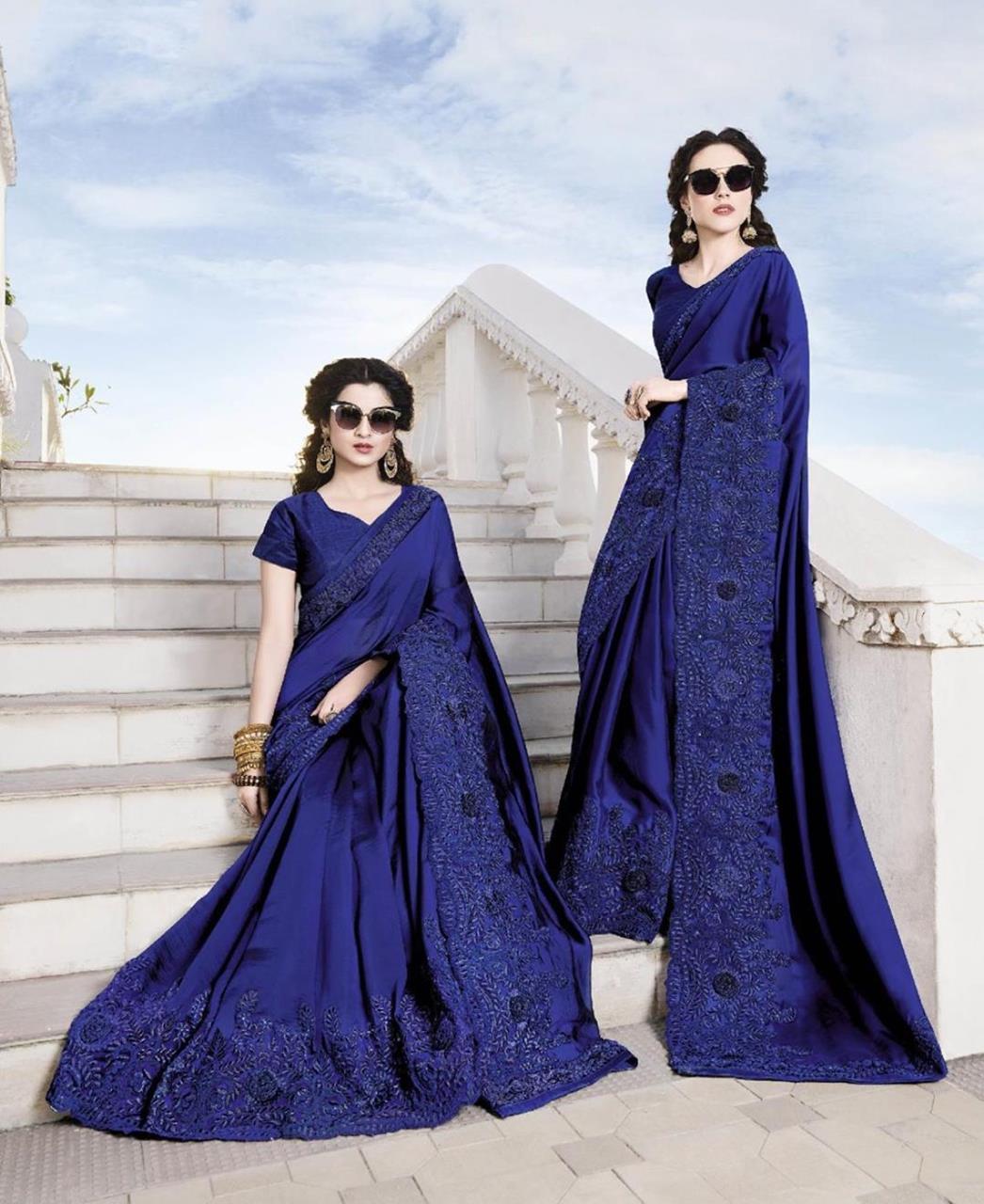 Embroidered Satin & Chiffon Saree (Sari) in DarkBlue