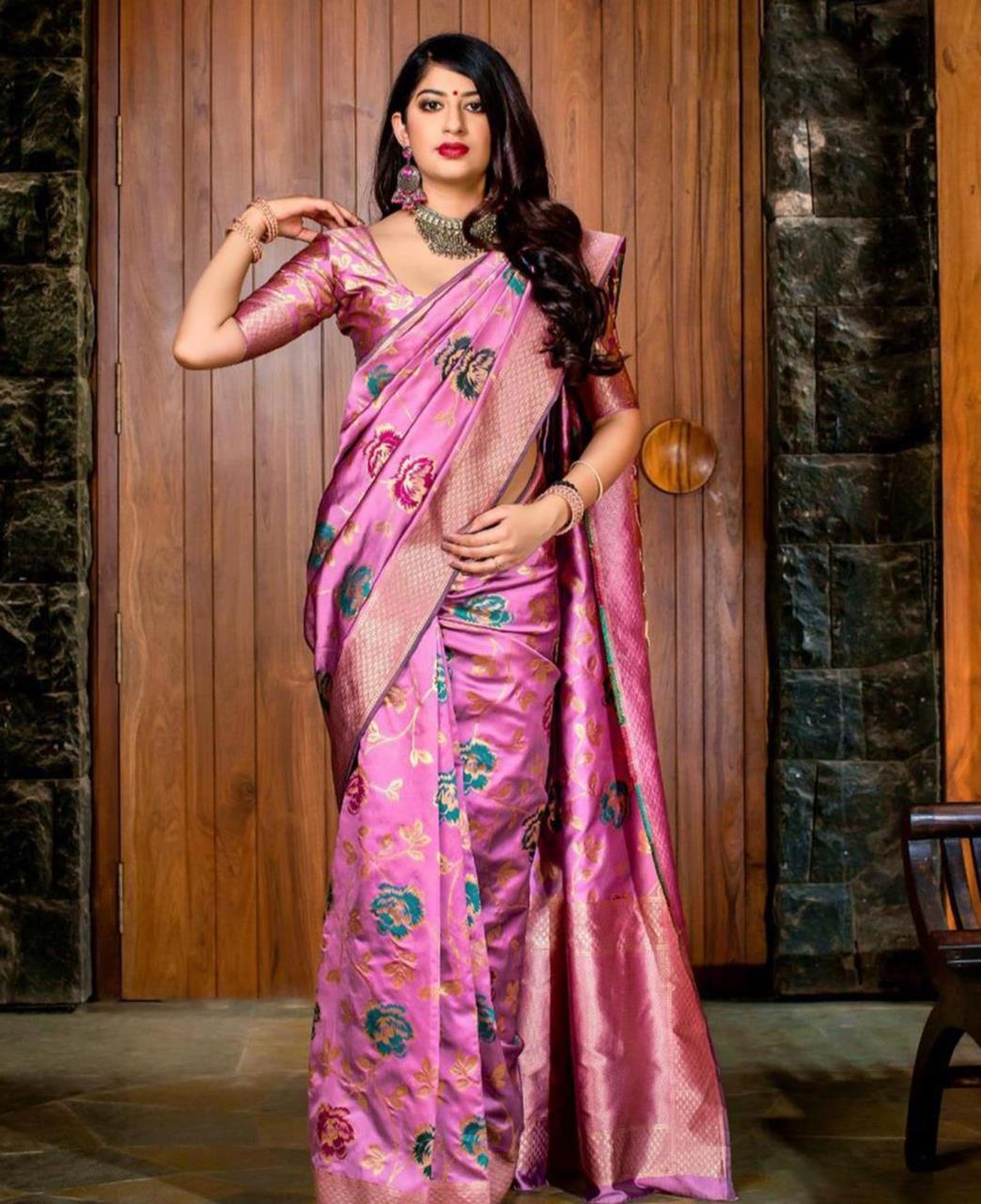 Printed Banarasi Silk Saree (Sari) Pink