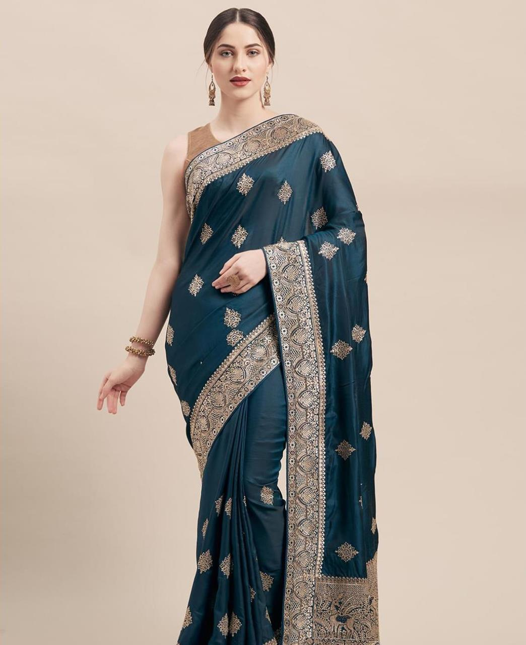 Embroidered Georgette Saree in Teal