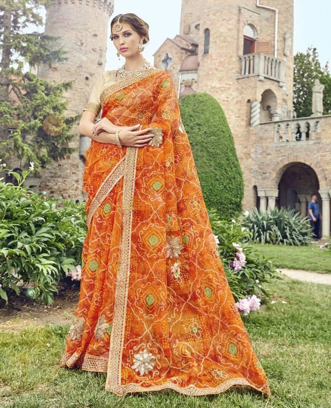 Bandhej Printed Supernet Saree (Sari) in Orange