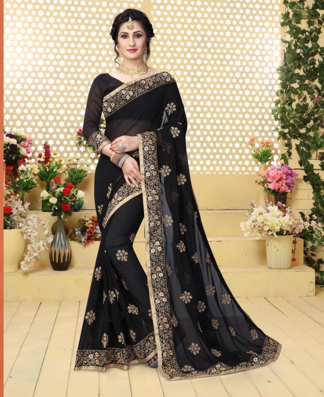 Jari Georgette Saree (Sari) in Black