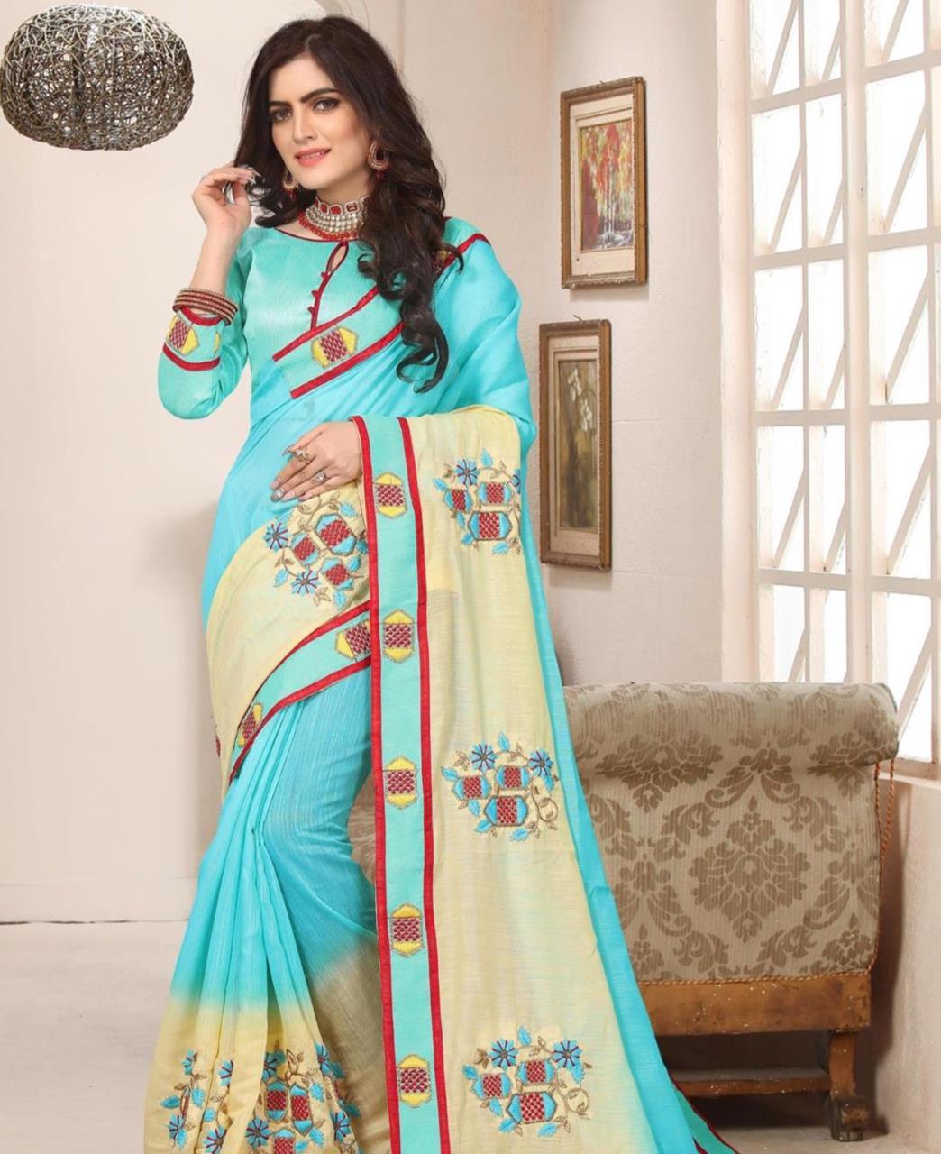Border Work Silk Saree (Sari) in SKYBLUE